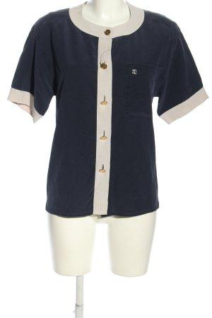 Chanel Camicetta a maniche corte blu-bianco stile professionale