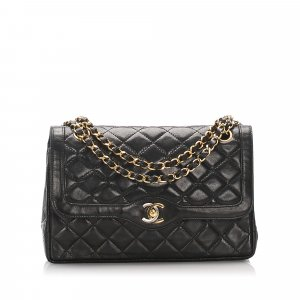 Chanel Lambskin Leather Double Flap Shoulder Bag