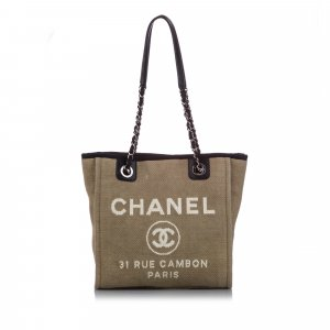 Chanel Large Deauville Canvas Tote Bag