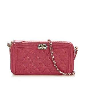 Chanel Le Boy Lambskin Leather Wallet on Chain