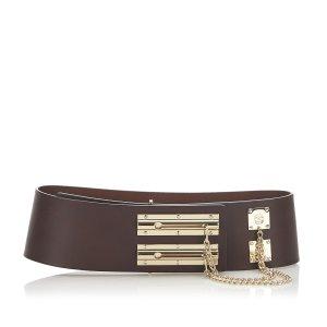 Chanel Cinturón marrón oscuro Cuero