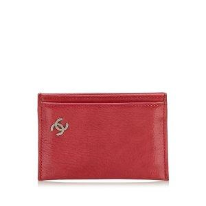 Chanel Porte-cartes rouge cuir