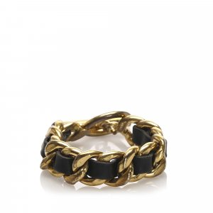 Chanel Leather Woven Chain Bracelet