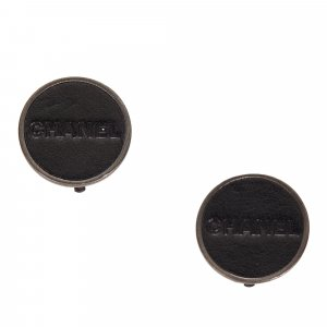 Chanel Pendiente negro Cuero
