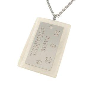 Chanel Logo Plate Pendant Necklace