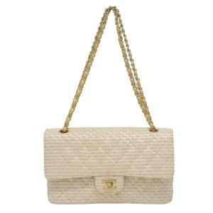 Chanel Bolsa de hombro beige fibra textil