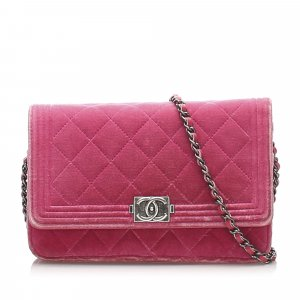 Chanel Matelasse Boy Velour Wallet On Chain