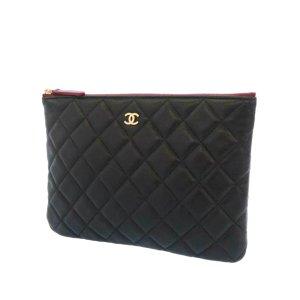Chanel Matelasse CC Lambskin Leather Clutch Bag