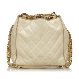 Chanel Sac porté épaule blanc coton