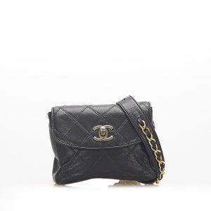 Chanel Banane noir cuir