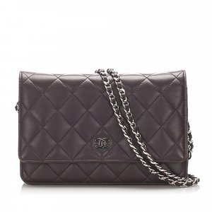 Chanel Matelasse Lambskin Leather Wallet On Chain
