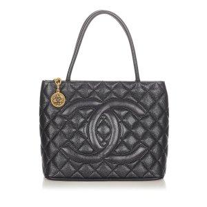 Chanel Bolso de compra negro Cuero