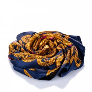Chanel Scarf dark blue silk