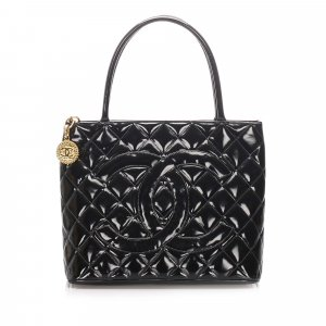 Chanel Medallion Patent Leather Tote Bag