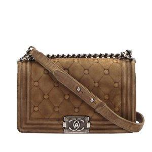 Chanel Medium Boy Suede Leather Flap Bag
