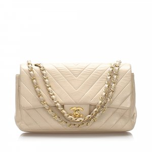 Chanel Medium Chevron Lambskin Double Flap Bag