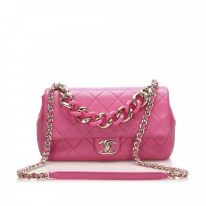 Chanel Medium Lambskin Leather Bicolor Chain Flap Bag