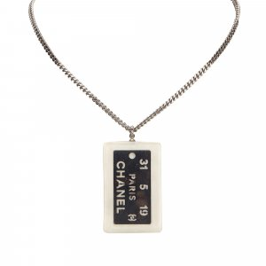 Chanel Metal Dog Tag Necklace