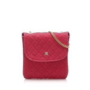 Chanel Shoulder Bag red cotton
