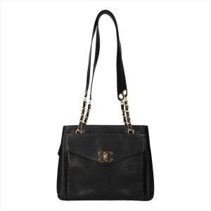 Chanel mittlere Schultertasche mit Reißverschluss aus genarbtem Kalbsleder in den Farben Schwarz und Gold Tasche Handtasche