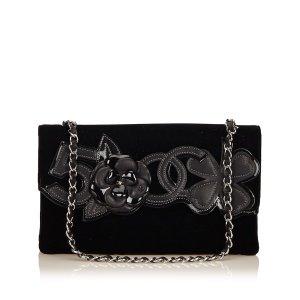 Chanel Sac porté épaule noir coton