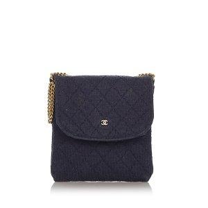 Chanel Gekruiste tas blauw Nylon