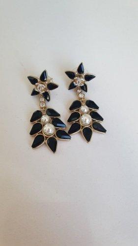 Chanel Pendientes colgante negro-color oro metal
