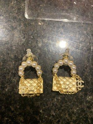 Chanel Pendientes colgante color oro-blanco