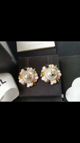 Chanel Pendientes de oro color rosa dorado-color oro