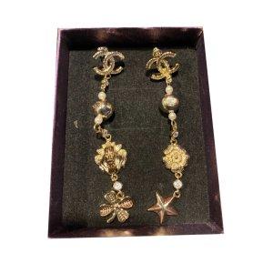 Chanel Wiszące kolczyki brąz-złoto Metal