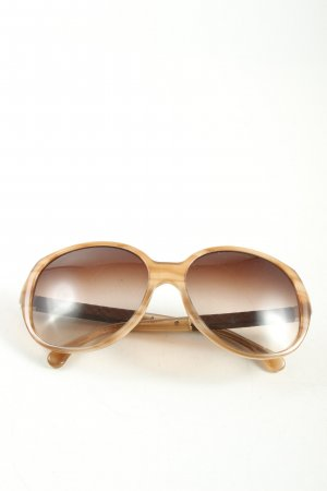 Chanel ovale Sonnenbrille braun-wollweiß abstraktes Muster Casual-Look
