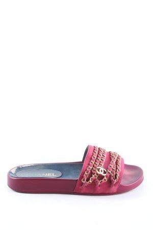 Chanel Pantoffeln rot-goldfarben Glitzer-Optik