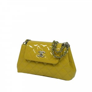 Chanel Shoulder Bag yellow imitation leather