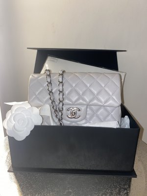 Chanel Handbag silver-colored-light grey leather