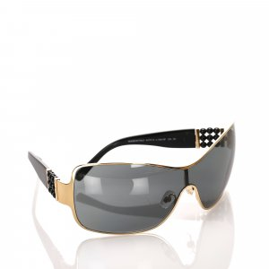 Chanel Pearl Embellished Shield Sunglasses