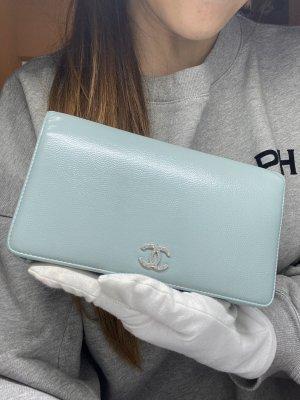Chanel Portemonnee lichtblauw-leigrijs