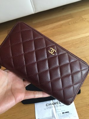 Chanel Portefeuille brun rouge