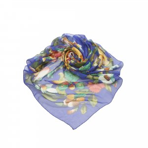 Chanel Scarf blue silk