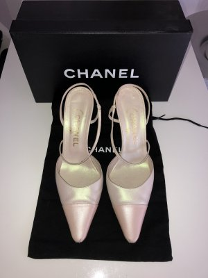 Chanel Pumps Gr. 37 Two Tone Slingpumps Rosé