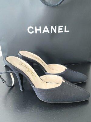 Chanel Talons hauts noir tissu mixte