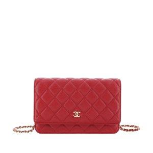 Chanel Portmonetka czerwony Skóra