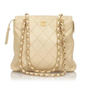 Chanel Bolsa de hombro beige Cuero