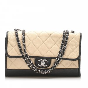 Chanel Quilted CC Single Flap Leather Shoulder Bag