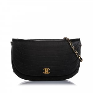 Chanel Quilted Half Moon Lambskin Leather Flap Bag