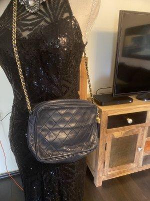 Chanel Gekruiste tas donkerblauw-goud Leer