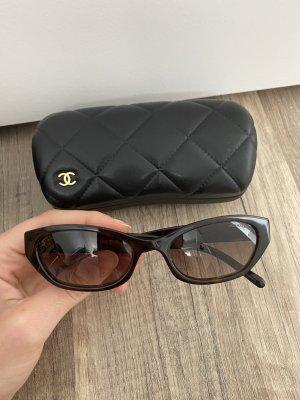 Chanel Hoekige zonnebril donkerbruin-lichtbruin