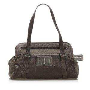 Chanel Shoulder Bag dark brown leather