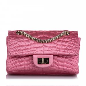 Chanel Reissue Croc Stitch Satin Double Flap Bag