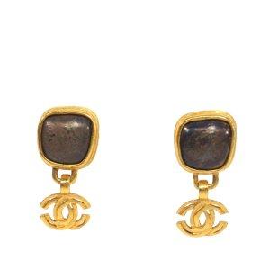 Chanel Resin CC Drop Earrings