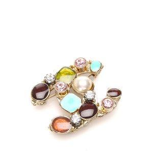 Chanel Rhinestone CC Brooch